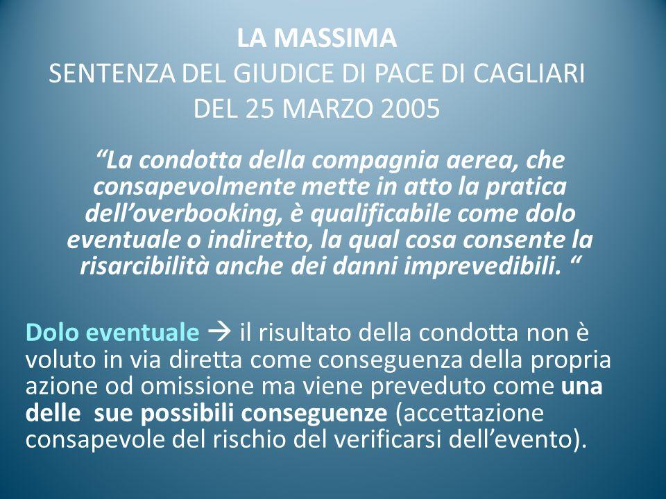 LA MASSIMA SENTENZA DEL GIUDICE DI PACE DI CAGLIARI DEL 25 MARZO 2005