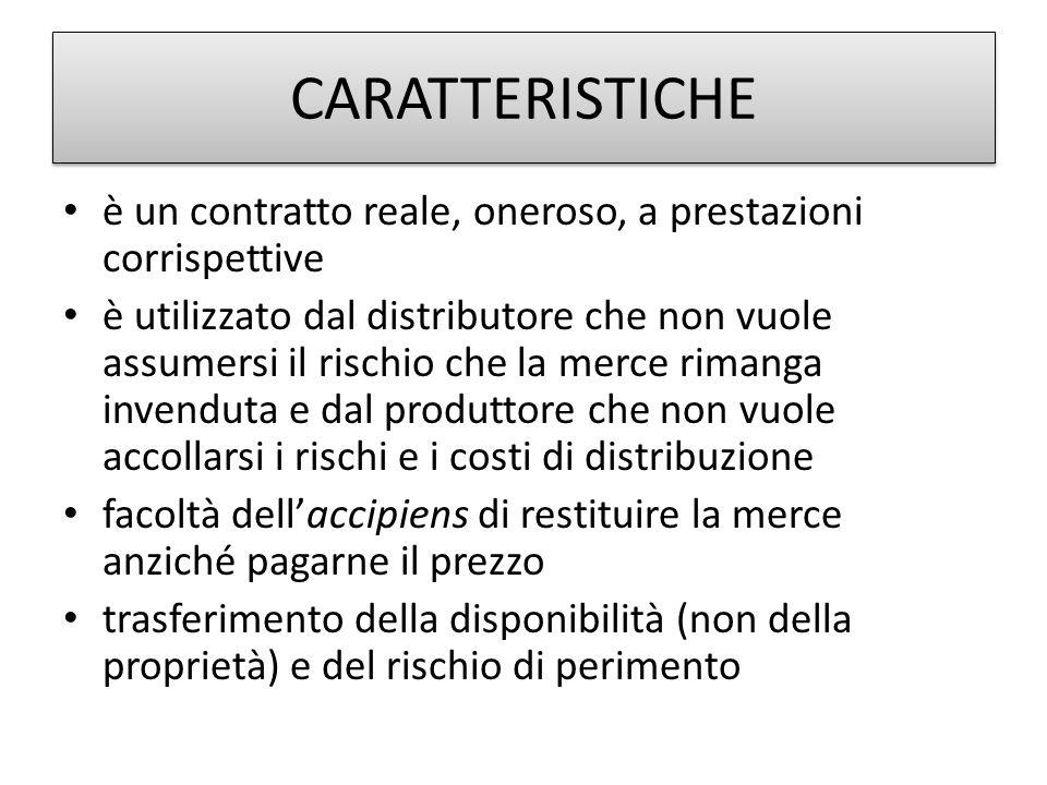 CARATTERISTICHE è un contratto reale, oneroso, a prestazioni corrispettive.
