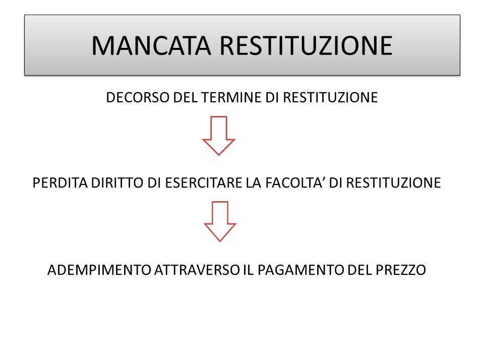 MANCATA RESTITUZIONE DECORSO DEL TERMINE DI RESTITUZIONE