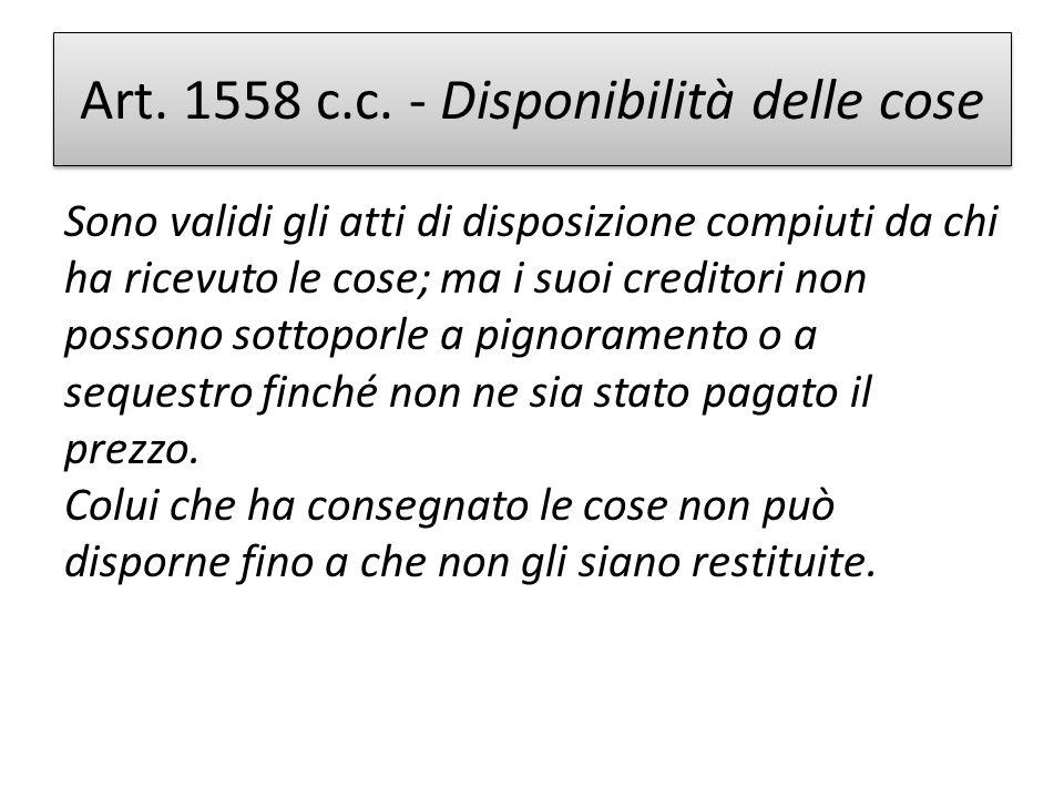 Art. 1558 c.c. - Disponibilità delle cose