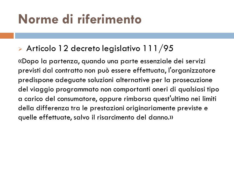 Norme di riferimento Articolo 12 decreto legislativo 111/95