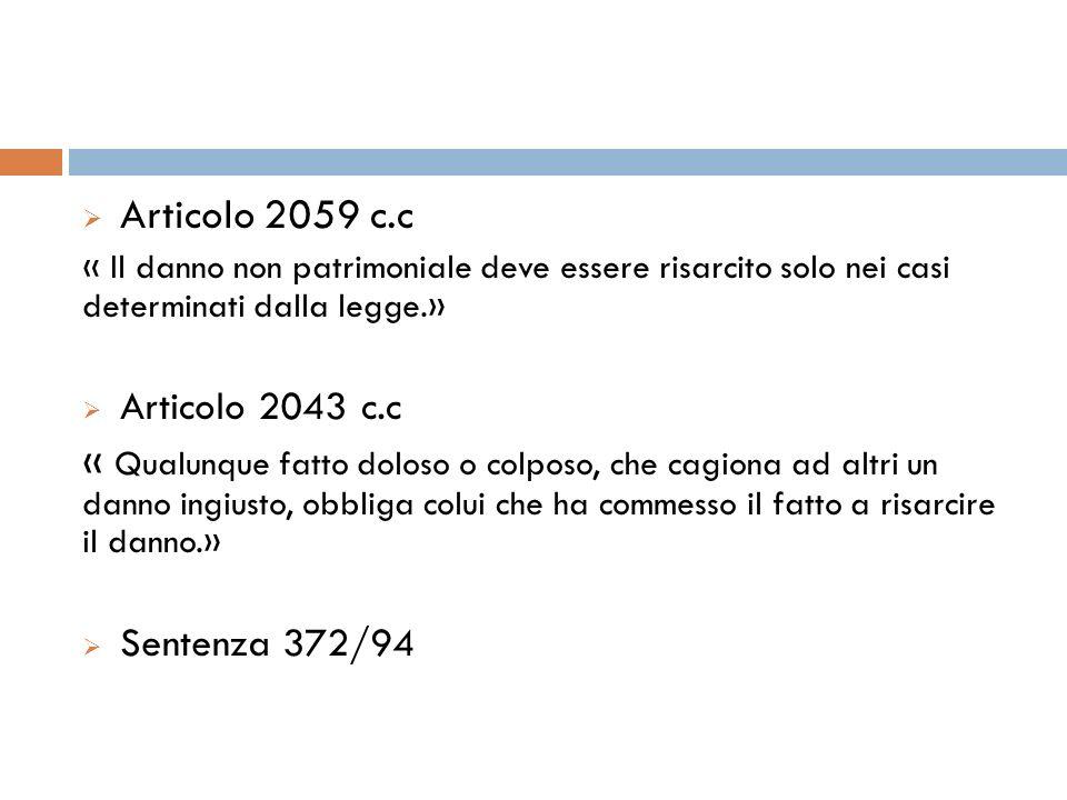 Articolo 2059 c.c Articolo 2043 c.c
