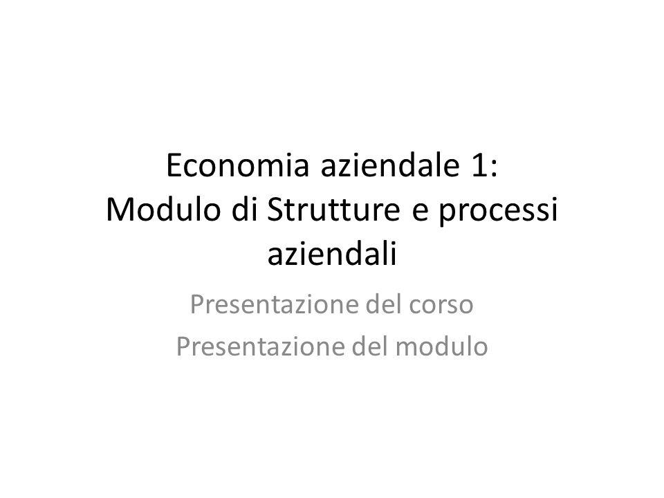Economia aziendale 1: Modulo di Strutture e processi aziendali
