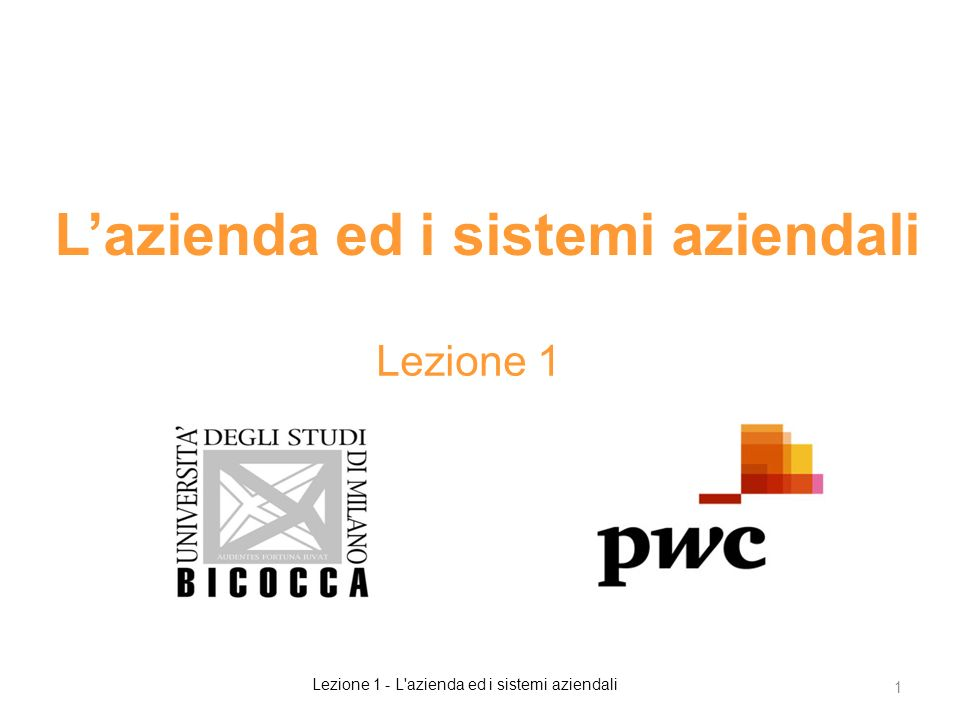 L'azienda ed i sistemi aziendali