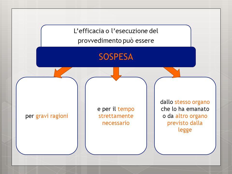 SOSPESA L'efficacia o l'esecuzione del provvedimento può essere