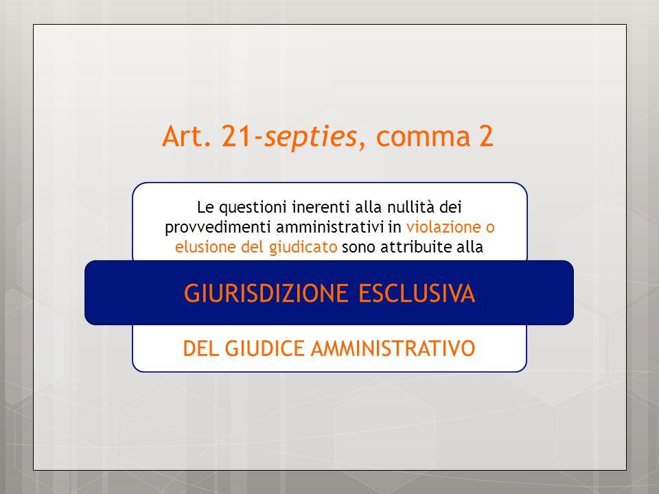 Art. 21-septies, comma 2 GIURISDIZIONE ESCLUSIVA