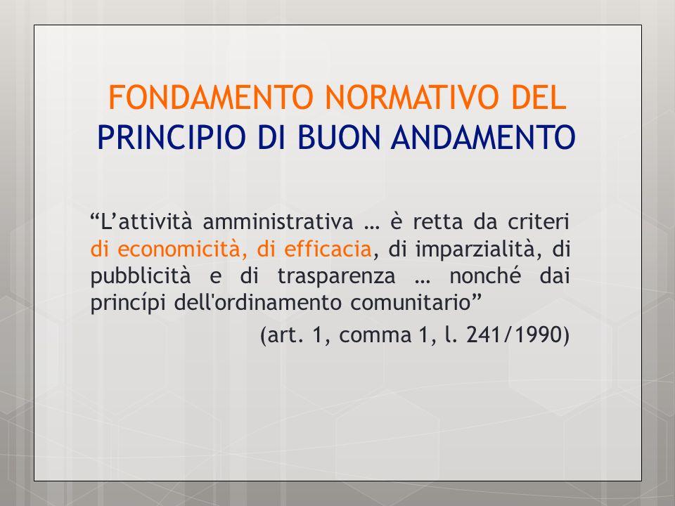 FONDAMENTO NORMATIVO DEL PRINCIPIO DI BUON ANDAMENTO