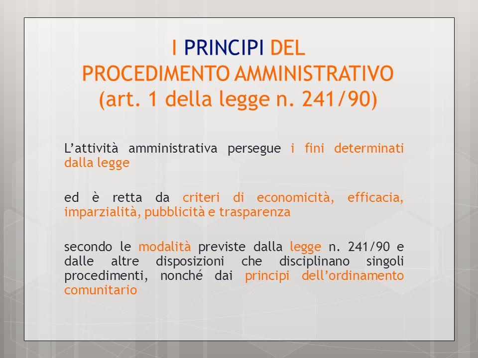 I PRINCIPI DEL PROCEDIMENTO AMMINISTRATIVO (art. 1 della legge n