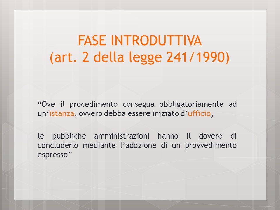 FASE INTRODUTTIVA (art. 2 della legge 241/1990)