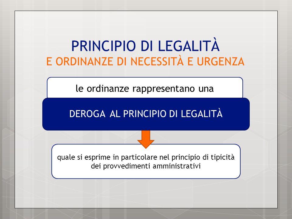 PRINCIPIO DI LEGALITÀ E ORDINANZE DI NECESSITÀ E URGENZA