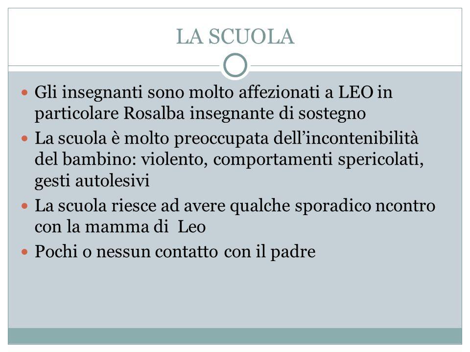 LA SCUOLA Gli insegnanti sono molto affezionati a LEO in particolare Rosalba insegnante di sostegno.