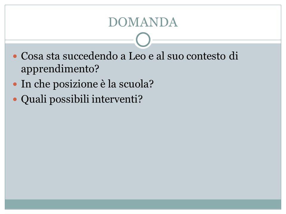 DOMANDA Cosa sta succedendo a Leo e al suo contesto di apprendimento