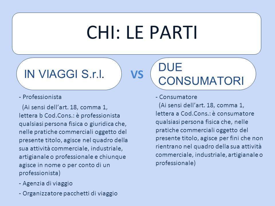 CHI: LE PARTI VS DUE CONSUMATORI IN VIAGGI S.r.l. - Professionista