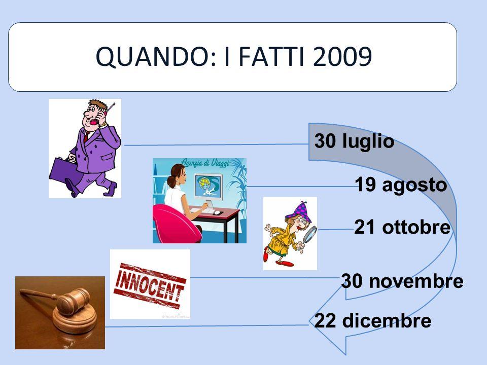 QUANDO: I FATTI 2009 30 luglio 19 agosto 21 ottobre 30 novembre