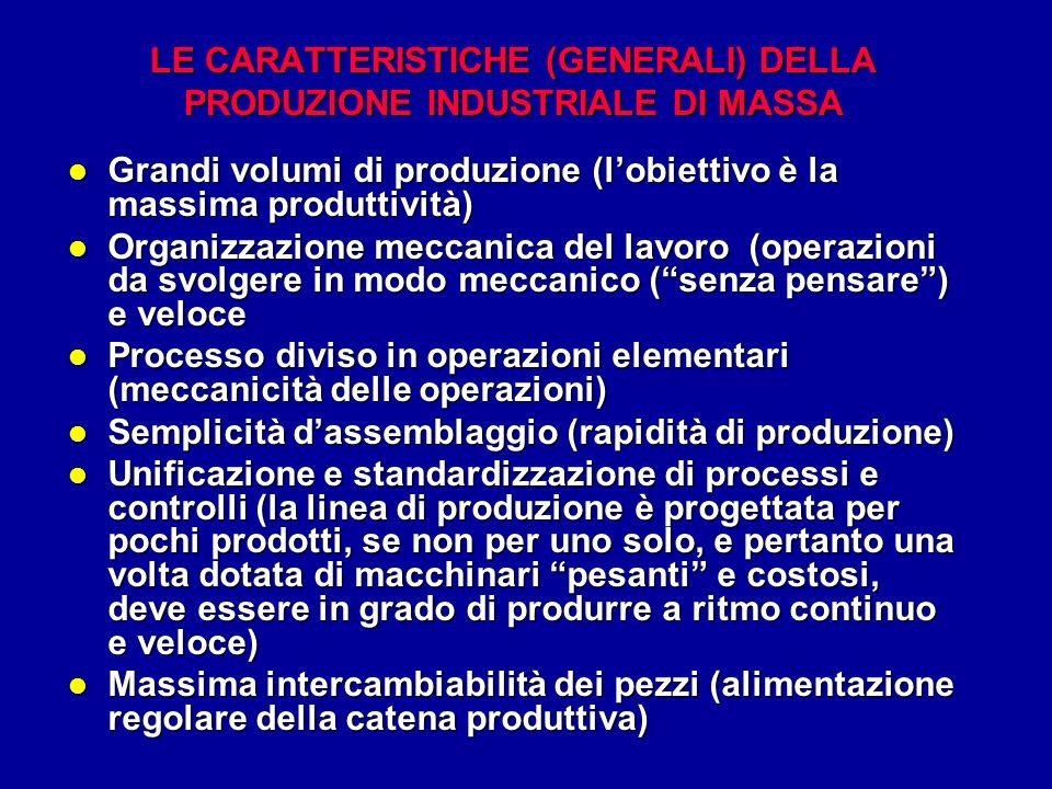 LE CARATTERISTICHE (GENERALI) DELLA PRODUZIONE INDUSTRIALE DI MASSA