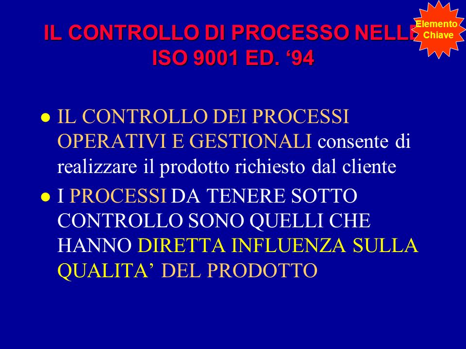IL CONTROLLO DI PROCESSO NELLE ISO 9001 ED. '94