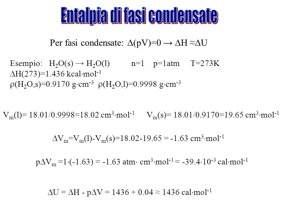 Entalpia di fasi condensate