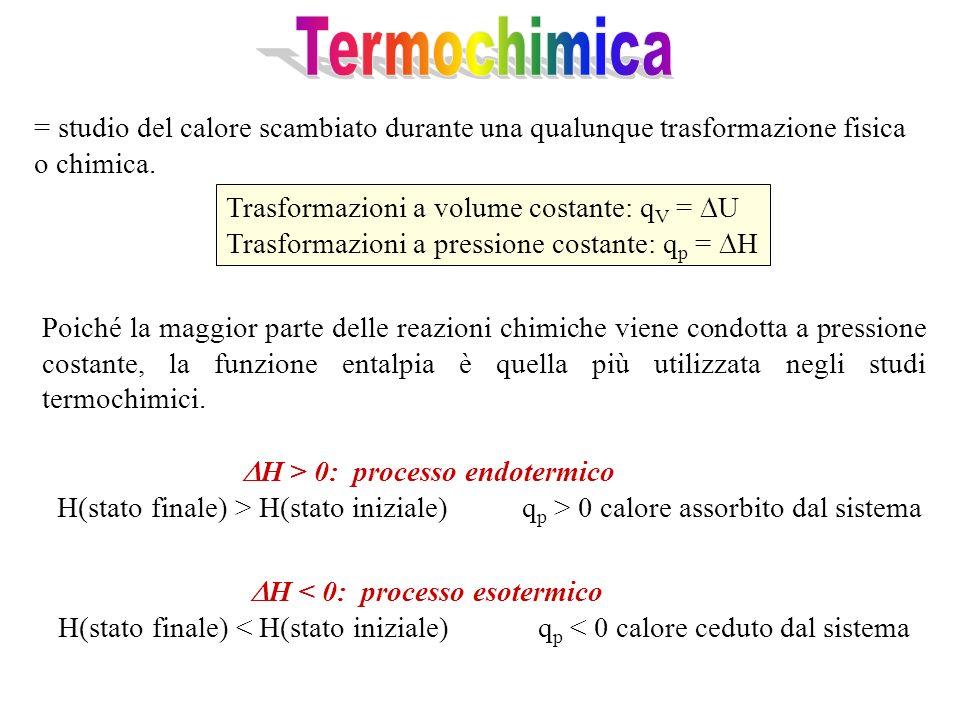 Termochimica = studio del calore scambiato durante una qualunque trasformazione fisica o chimica. Trasformazioni a volume costante: qV = U.