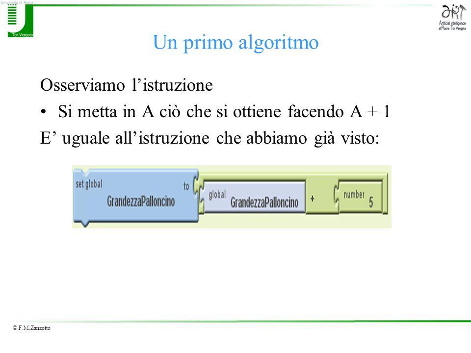 Un primo algoritmo Osserviamo l'istruzione