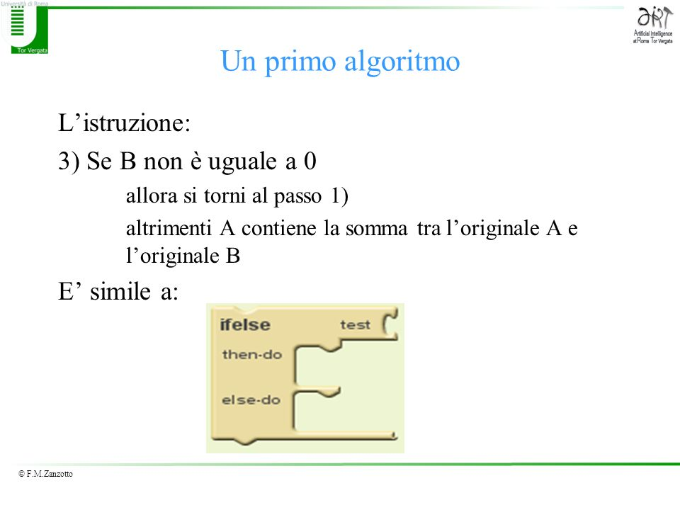 Un primo algoritmo L'istruzione: 3) Se B non è uguale a 0 E' simile a: