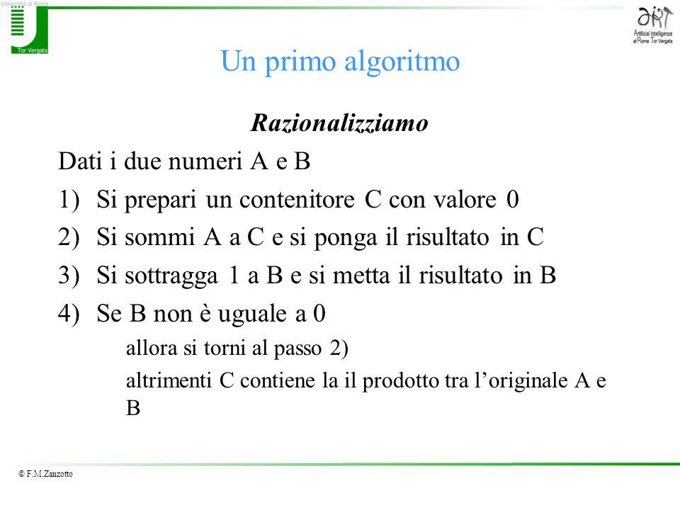 Un primo algoritmo Razionalizziamo Dati i due numeri A e B