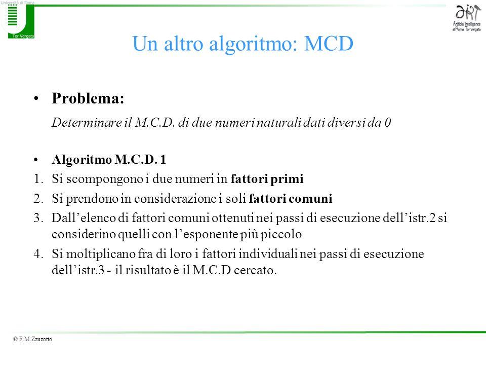 Un altro algoritmo: MCD