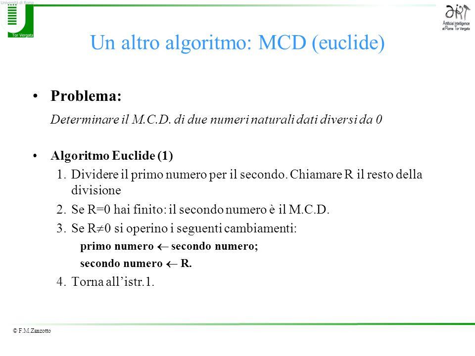 Un altro algoritmo: MCD (euclide)