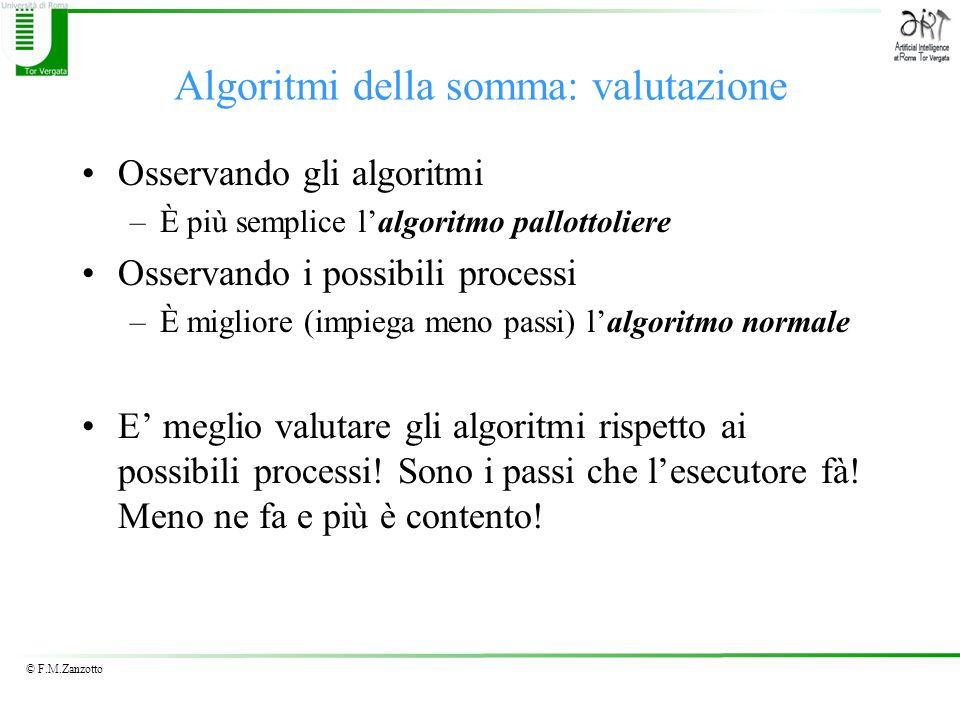 Algoritmi della somma: valutazione