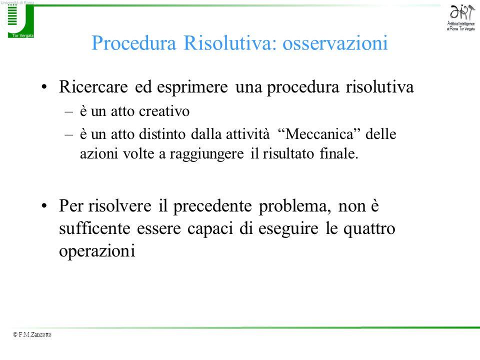 Procedura Risolutiva: osservazioni