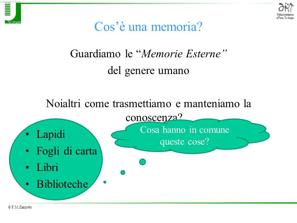 Cos'è una memoria Guardiamo le Memorie Esterne del genere umano