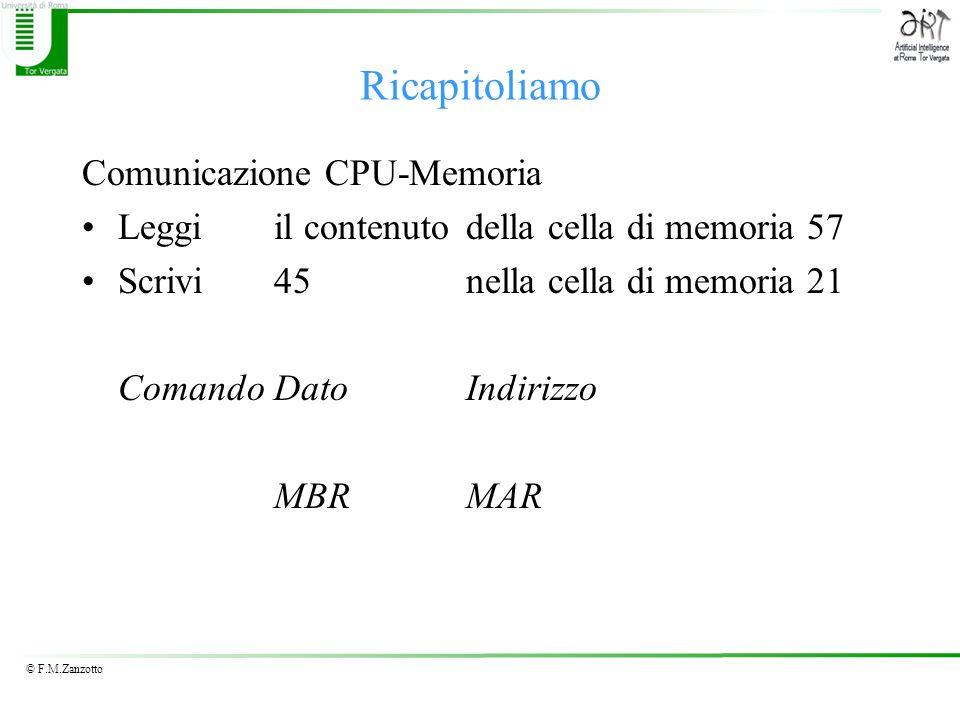 Ricapitoliamo Comunicazione CPU-Memoria