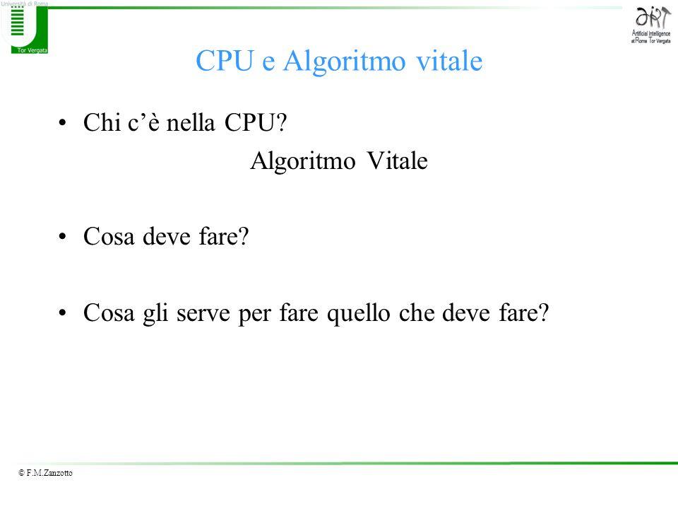 CPU e Algoritmo vitale Chi c'è nella CPU Algoritmo Vitale