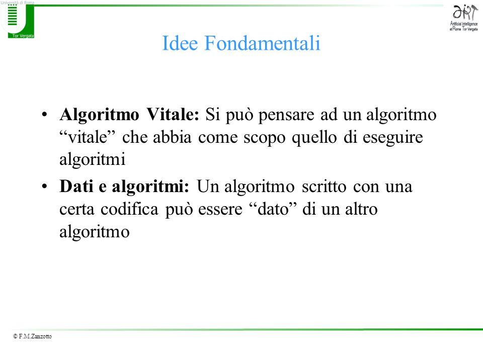 Idee Fondamentali Algoritmo Vitale: Si può pensare ad un algoritmo vitale che abbia come scopo quello di eseguire algoritmi.