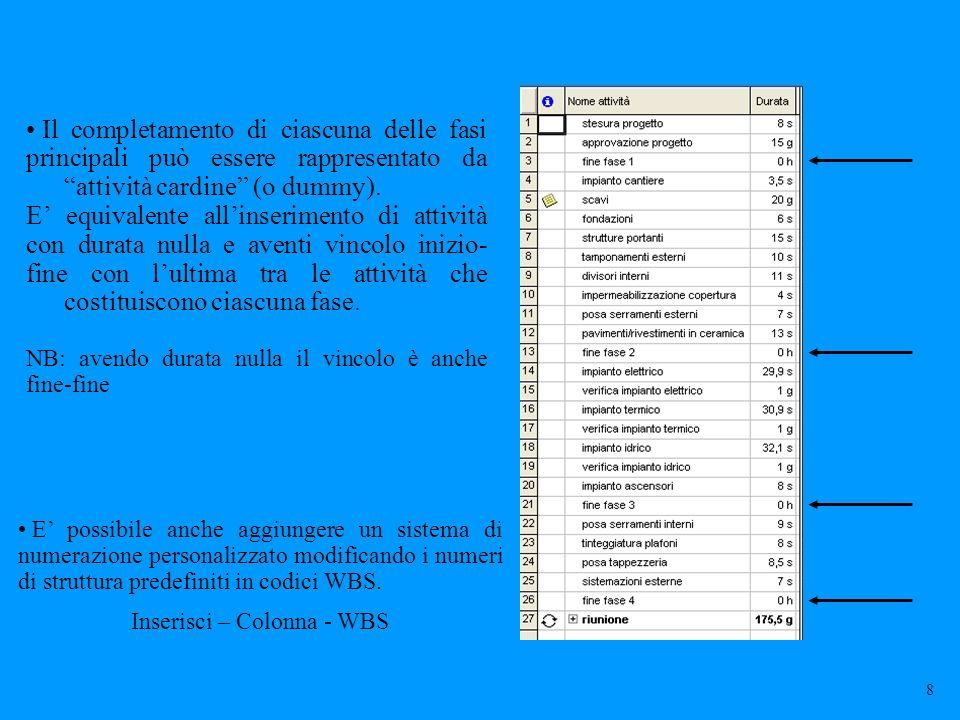 Inserisci – Colonna - WBS