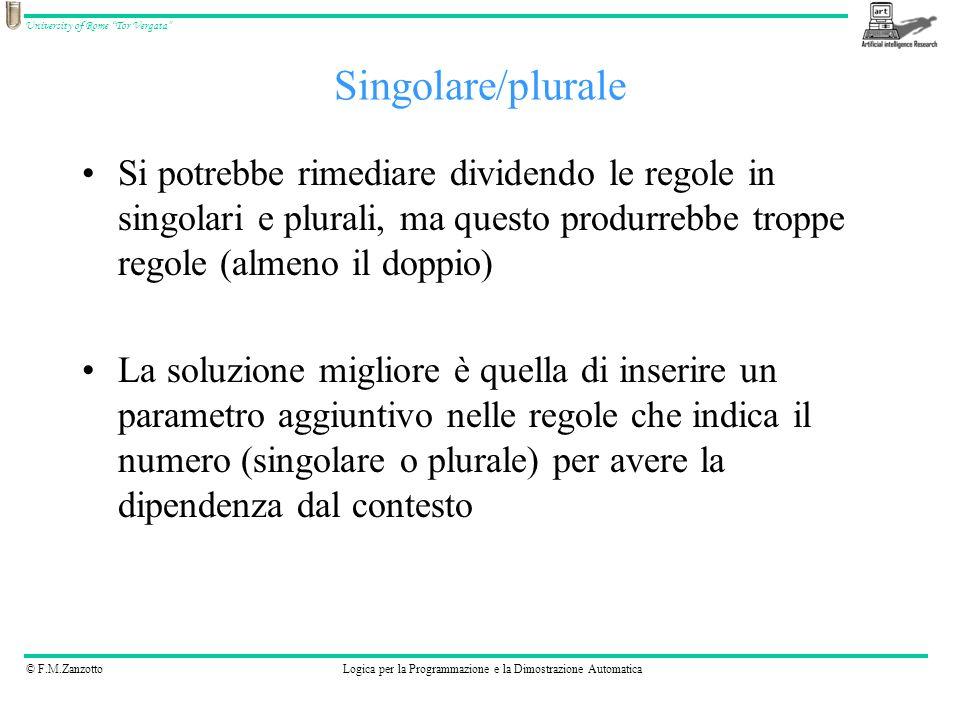 Singolare/plurale Si potrebbe rimediare dividendo le regole in singolari e plurali, ma questo produrrebbe troppe regole (almeno il doppio)
