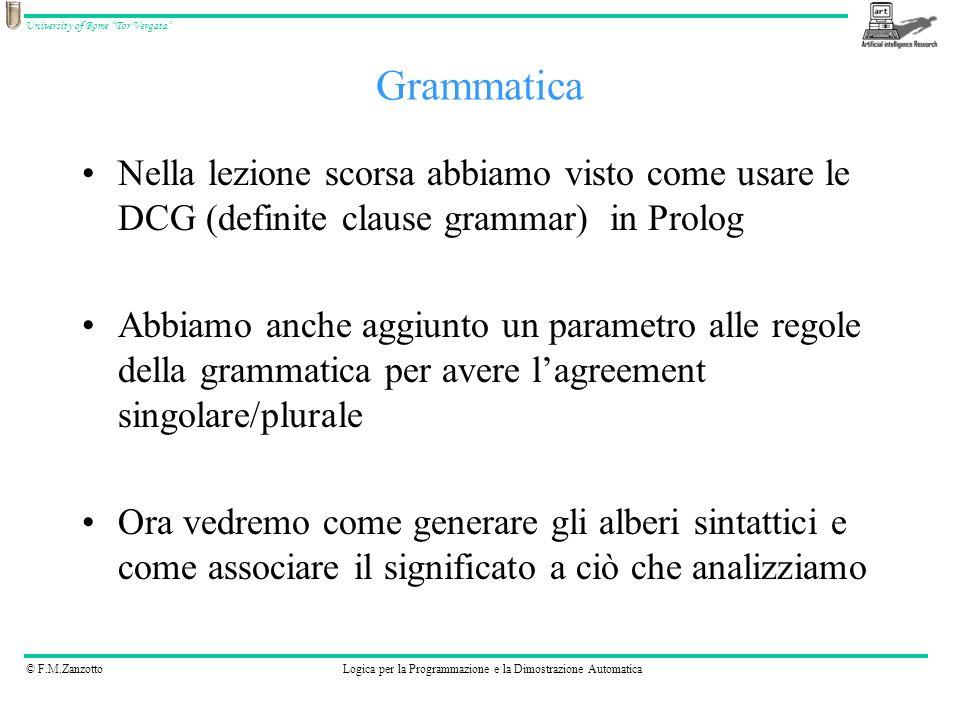 Grammatica Nella lezione scorsa abbiamo visto come usare le DCG (definite clause grammar) in Prolog.