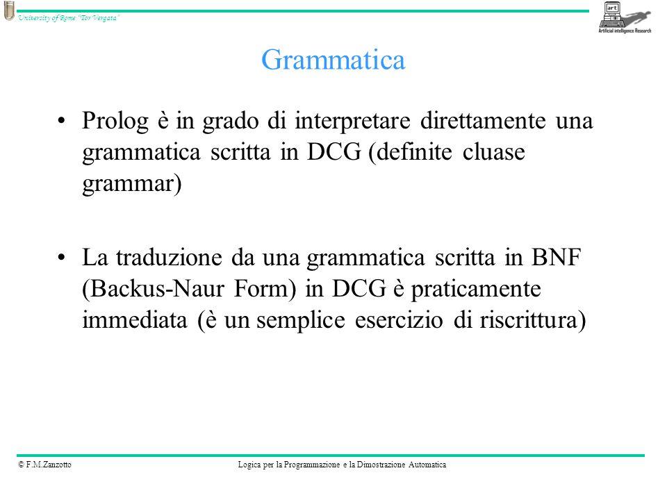 Grammatica Prolog è in grado di interpretare direttamente una grammatica scritta in DCG (definite cluase grammar)