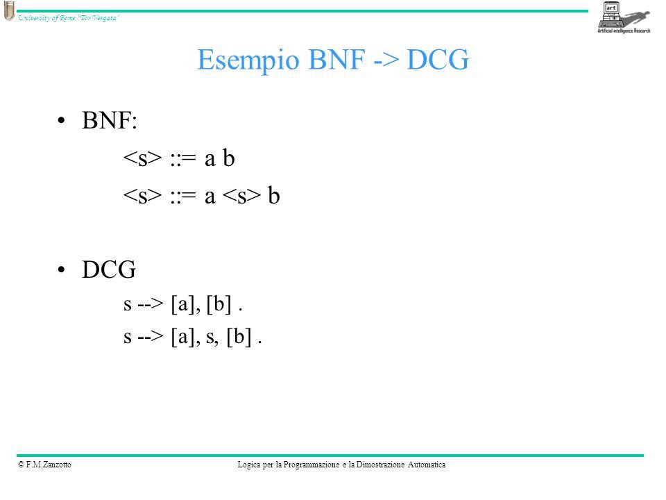 Esempio BNF -> DCG BNF: <s> ::= a b