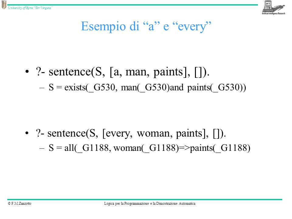 Esempio di a e every
