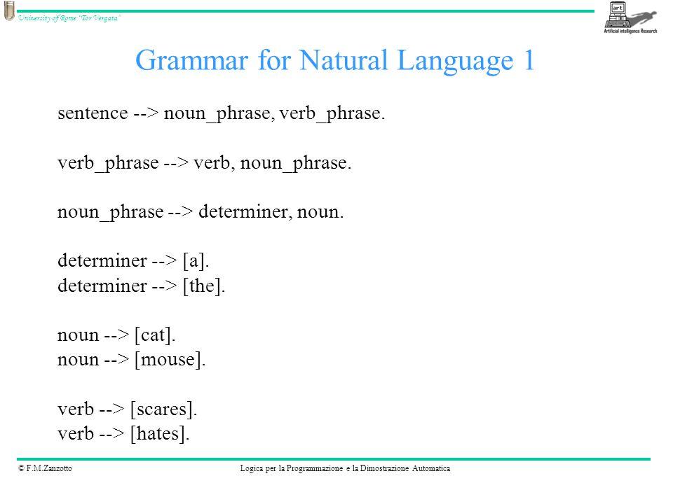 Grammar for Natural Language 1