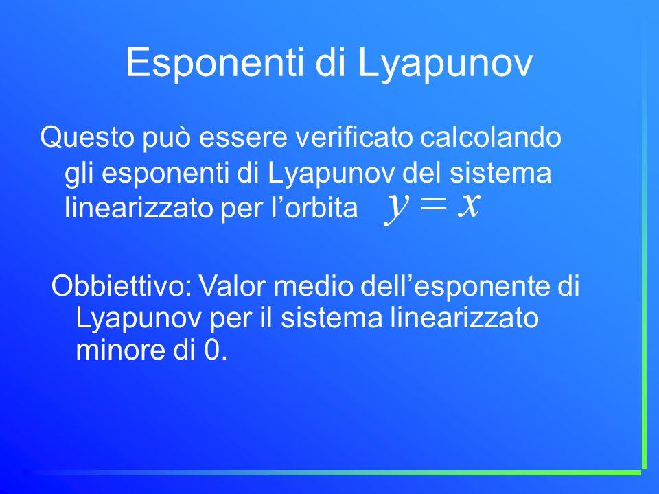 Esponenti di Lyapunov Questo può essere verificato calcolando gli esponenti di Lyapunov del sistema linearizzato per l'orbita.