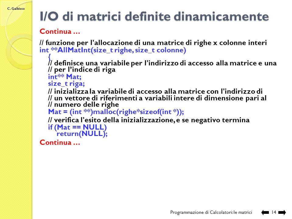 I/O di matrici definite dinamicamente