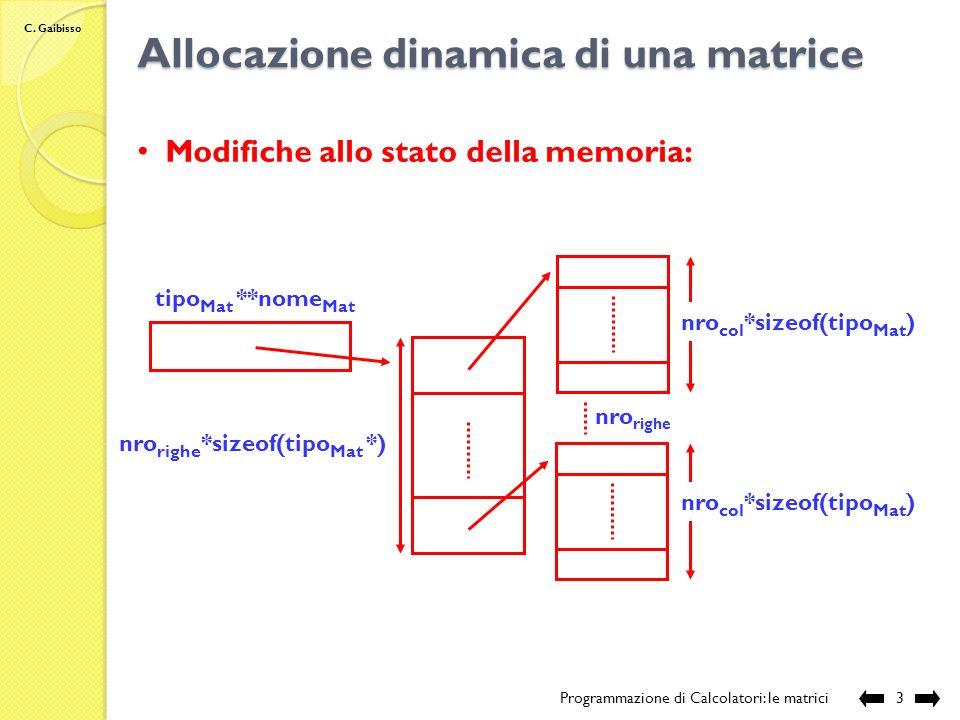 Allocazione dinamica di una matrice