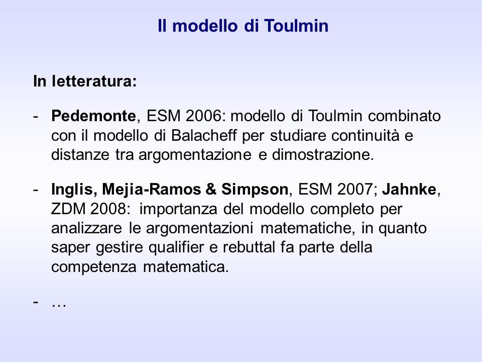 Il modello di Toulmin In letteratura: