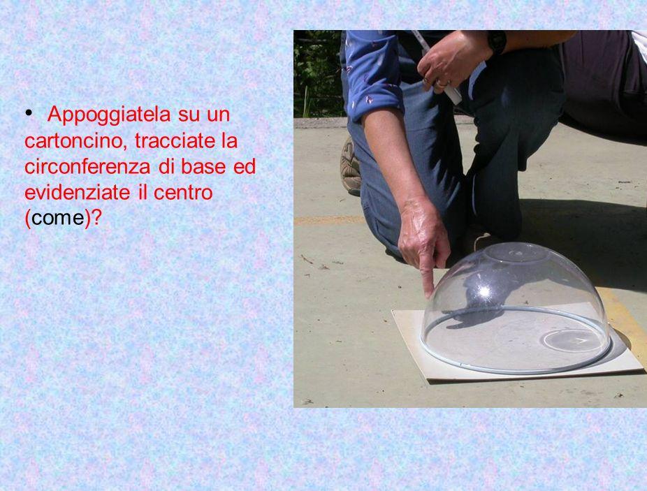 Appoggiatela su un cartoncino, tracciate la circonferenza di base ed evidenziate il centro (come)