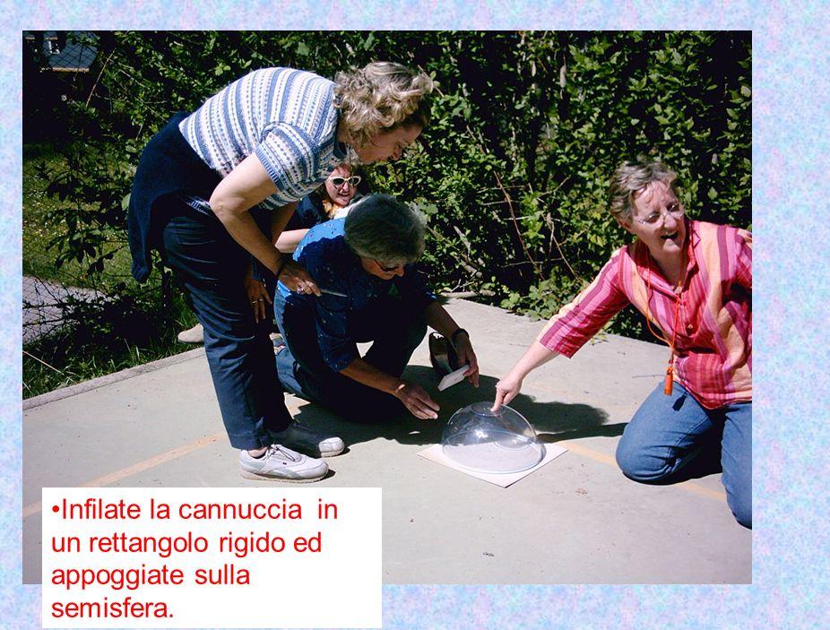 Infilate la cannuccia in un rettangolo rigido ed appoggiate sulla semisfera.
