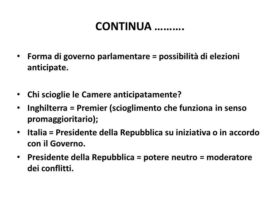 CONTINUA ………. Forma di governo parlamentare = possibilità di elezioni anticipate. Chi scioglie le Camere anticipatamente