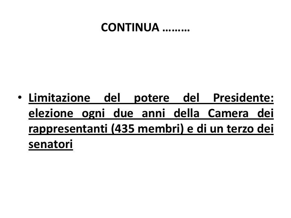 CONTINUA ……… Limitazione del potere del Presidente: elezione ogni due anni della Camera dei rappresentanti (435 membri) e di un terzo dei senatori.