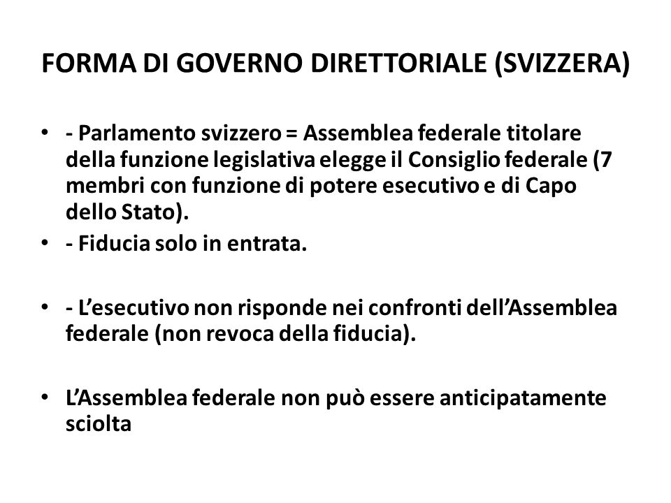 FORMA DI GOVERNO DIRETTORIALE (SVIZZERA)