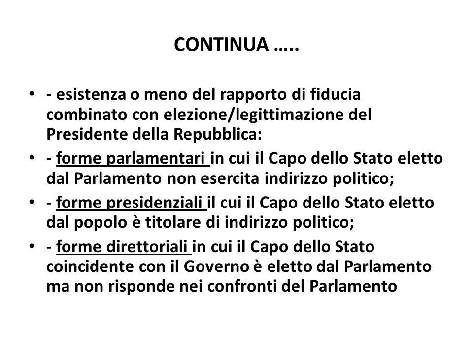 CONTINUA ….. - esistenza o meno del rapporto di fiducia combinato con elezione/legittimazione del Presidente della Repubblica: